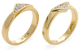 Rebecca Minkoff Pave Glass Crystal Stackable Rings (Set of 2)