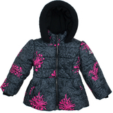 Big Chill Black Flower Bubble Jacket - Toddler & Girls