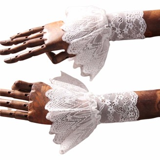 Goneryisour Elegant Women Lotus Leaf Fake Sleeves - Floral Lace Pleated Ruffles Horn Cuffs Wrist Warmer Sweater Fake Sleeves Clothing Accessories