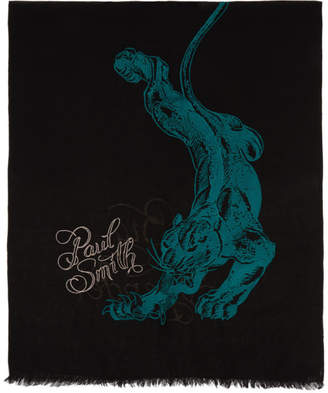 Paul Smith By Mark Mahoney by Mark Mahoney Black Wool Embroidered Panther Scarf