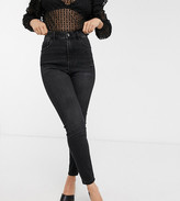 Stradivarius Petite super high waist skinny jean in black wash