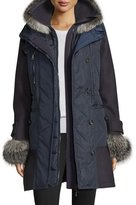 Moncler Elestoria Two-Piece Puffer Coat w/Fur Trim, Navy