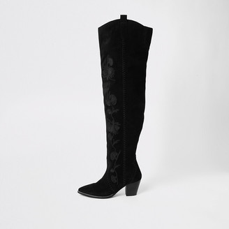 River Island Black suede embroidered over the knee boot