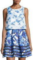 Romeo & Juliet Couture Layered Floral Sleeveless Dress, Blue/White