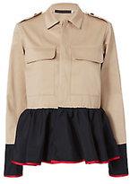 Harvey Faircloth Satin Peplum Khaki Field Jacket