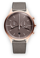 Uniform Wares C39 Women's chronograph watch in PVD rose gold with grey textured calf leather strap