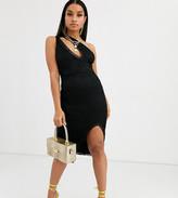 Asos DESIGN Petite one shoulder lace midi dress with slash front detail