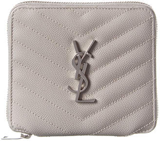 Saint Laurent Small Monogram Matelasse Leather Zip Around Wallet