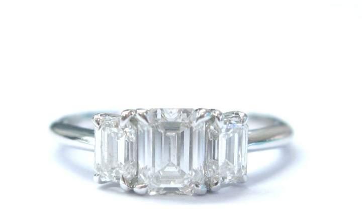 Tiffany & Co. Platinum 3-Stone Emerald Cut Diamond Ring