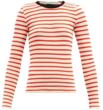 La Fetiche - Striped Cotton-jersey Top - Red Multi