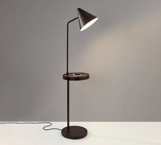 Pottery Barn Greylock Wooden Shelf USB Task Floor Lamp