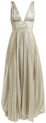 Maria Lucia Hohan Riley Pleated Silk-blend Maxi Dress - Silver
