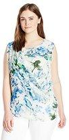 Calvin Klein Women's Plus-Size Printed Chiffon Drape Top