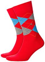 Burlington King Size Argyle Socks, One Size, Red
