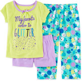 Okie Dokie 3-pc.Short-Sleeve Glitter Pajama Set - Preschool Girls 4-6x