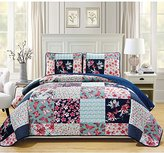 3 Piece Beautiful Pink Blue White Navy Cal King Bedspread Set, Patchwork Themed Reversible Bedding Floral Flower Classic Butterfly Striped Polka Dot Abstract Pretty Checkered Squares Lilly, Polyester