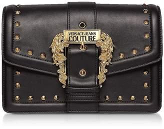 Versace Black Studded Leather Crossbody Bag W/buckle