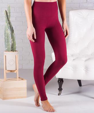 Contagious Women's Leggings Burgundy - Burgundy Fleece-Lined Tummy-Control Leggings - Women
