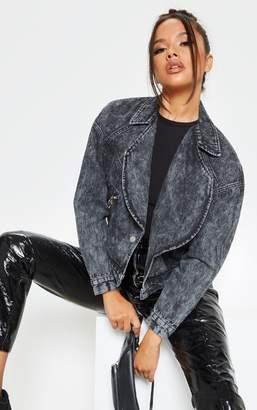 PrettyLittleThing Acid Black Oversized Denim Biker Jacket