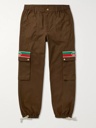 Gucci Tapered Webbing-Trimmed Cotton-Twill Trousers