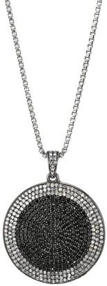 Nina Gilin Black Rhodium-Plated, Black Spinel & Diamond Circle Pendant Necklace