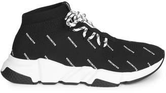 Balenciaga Allover Logo Speed Lace-Up Sneaker.