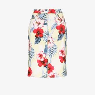 Les Rêveries tropical Floral print pencil skirt