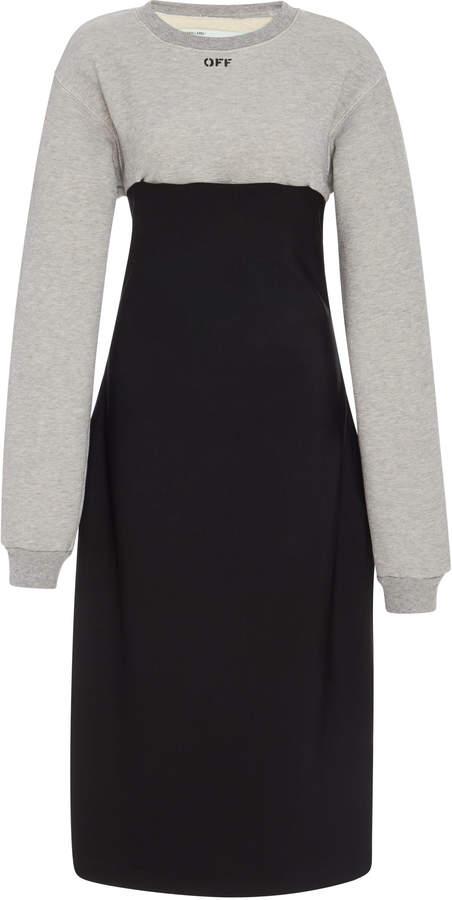 Off-White Paneled Cotton-Blend Midi Dress