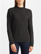 John Lewis Cable Stitch Turtle Neck Jumper, Charcoal