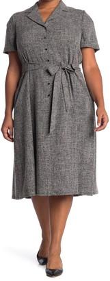 Anne Klein Tweed Belted Button Front Dress