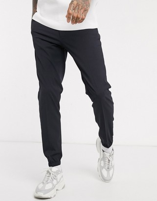 ASOS DESIGN smart skinny pants with jogger cuffs in navy