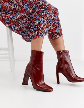 Topshop heeled boots with square toe in red