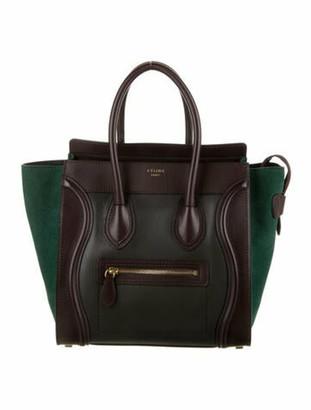 Celine Tricolor Micro Luggage Tote Green