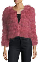 Alice + Olivia Fawn Fur Long-Sleeve Cropped Jacket