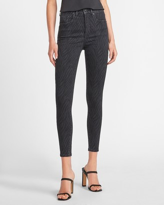 Express High Waisted Black Zebra Print Skinny Jeans