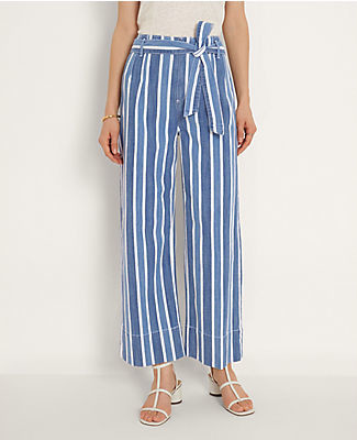 Ann Taylor Petite Stripe Belted Wide Leg Jeans in Bright Indigo Wash