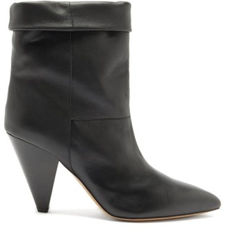 Isabel Marant Luido Leather Ankle Boots - Black