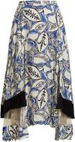 Toga Abstract floral-print panelled midi skirt