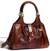 Brahmin 'Elisa' Croc Embossed Leather Shoulder Bag - Black