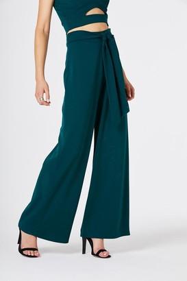 Girls On Film Lilia Green Wide Leg Trousers