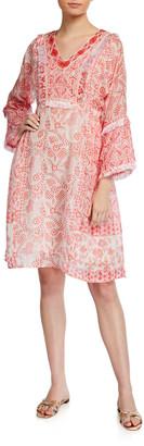 Bella Tu Emily Beaded V-Neck Long-Sleeve Dress