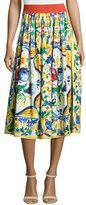 Dolce & Gabbana Maiolica Tile-Print A-Line Skirt, White/Blue/Yellow