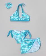 Sweet & Soft Aqua Zebra Bikini & Hair Tie - Infant