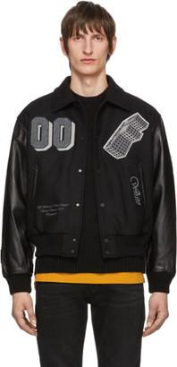 Off-White Black Leather Golden Ratio Varsity Jacket