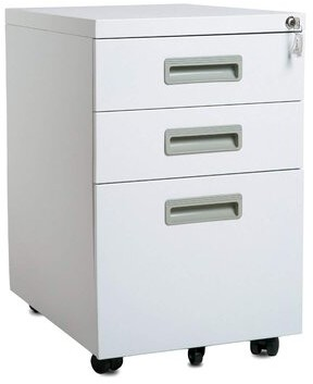 Alayia 3 - Drawer Mobile Vertical Filing Cabinet Latitude Run Color: White