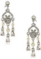Carolee 21 Club 3MM Faux Pearl Mini Chandelier Pierced Drop Earrings