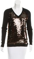 Diane von Furstenberg Embellished V-Neck Sweater