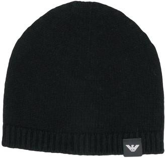 Emporio Armani Logo Patch Cashmere-Knit Beanie