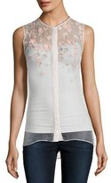 Elie Tahari Camila Sleeveless Embroidered Sheer Silk Blouse, White