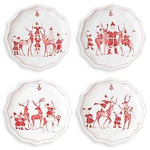 Juliska Country Estate Reindeer Games Tidbit Plates 4-Piece Set